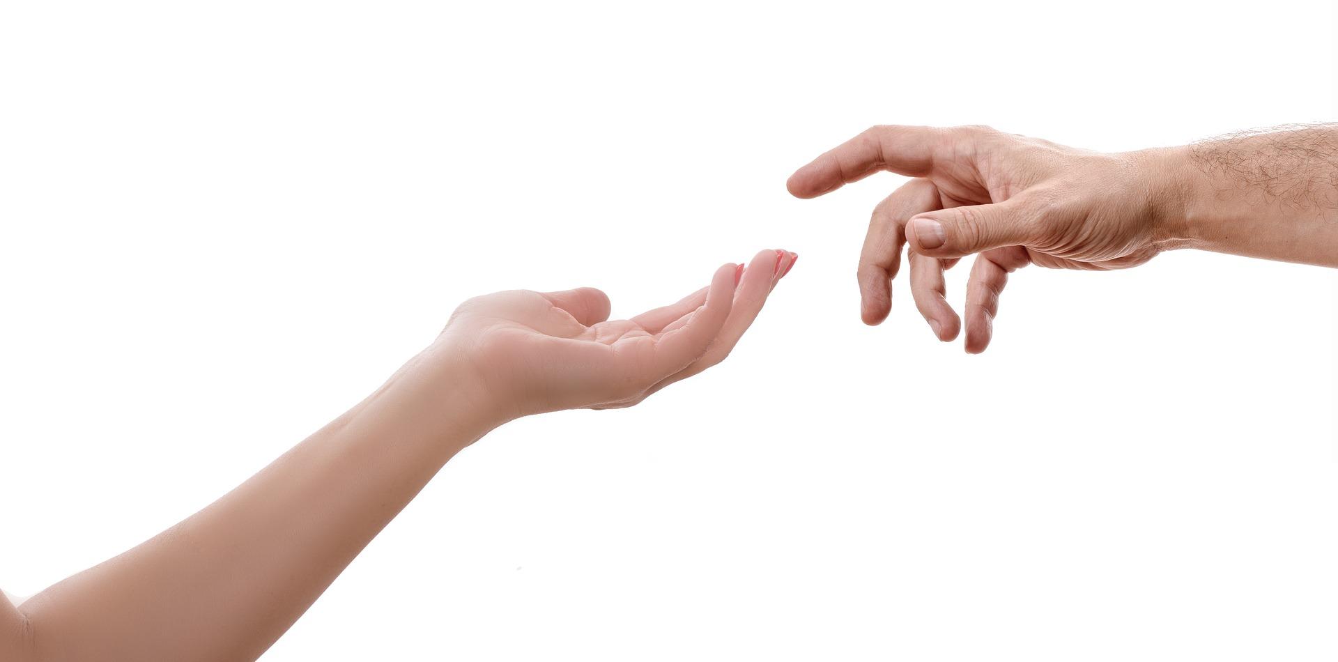 Hand Mann Frau Kontakt