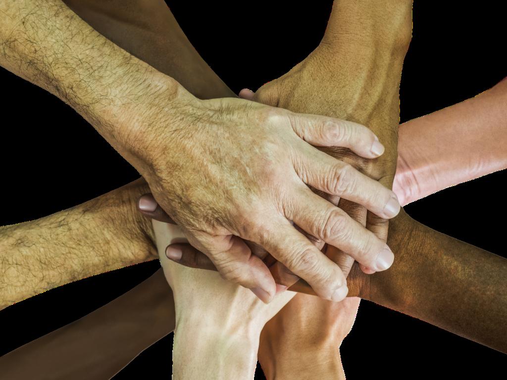 Händer übereinander Gemeinschaft